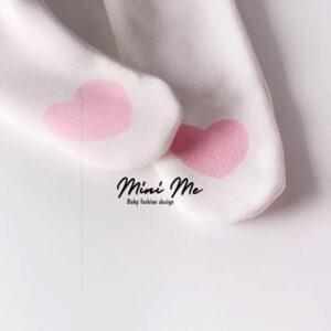 מכנסי רגליות דגם לב ורוד (0-24m)