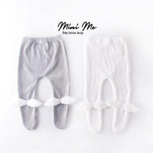 מכנסי רגליות לתינוק דגם אנג'ל צבע לבן/אפור (0-24m)