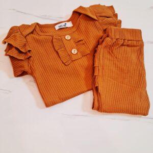 בגדי תינוקות – חליפה לתינוקת בצבע ורוד/קאמל דגם איימי