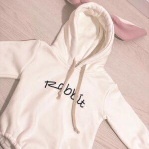 בגדי תינוקות – בגד גוף פוטר Rabbit ורוד/לבן
