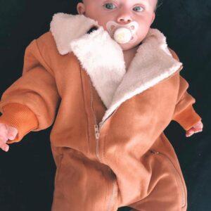 אוברול לתינוק דגם סקיי צבע לבן/קאמל