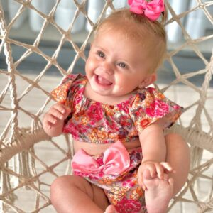 חליפה לתינוקת דגם פלאוור